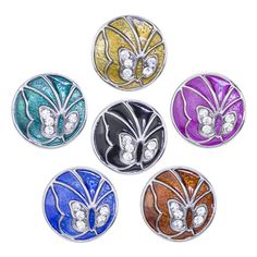 Soleebee 6pcs Enamel Alloy Snap Buttons Jewelry Charms - Rhinestone Butterfly ** You can get additional details at the image link.