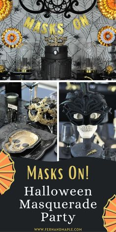 If you are looking for a glamorous way to celebrate this year's Halloween festivities look no further than this Halloween Masquerade Party! This party works any year, but this year you can incorporate face masks into the festivities for a safer celebration! Get ideas for dessert table, place settings, decor and more now at fernandmaple.com.