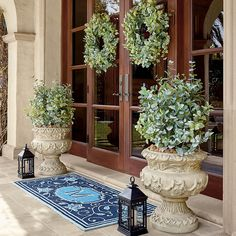 Inspired by designs found on traditional Ming vases, our Lillian Monogrammed Door Mat adds a personalized touch to your entry. Hand-hooked of durable polypropylene yarns that resist mold, mildew, stains and UV rays, season after season. Door Mat, Monogram Door Mat, Cheap Home Decor, Front Yard, Curb Appeal, Frontgate, Front Door, Fireplace Remodel, Porch Decorating