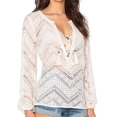 Line + Dot tassel lace top Best in tops host pick! This blouse is ready to carry you into the spring season. Line and Dot lyon lace blouse in cream with tie front, tassel detail also at sleeves. 50% rayon, 50% cotton. Modeled in a small. No trades. Lowest! Line & Dot Tops Blouses