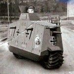 Armored Motorcycle Hoax; nicely done, whoever created this (based on A7V tank)