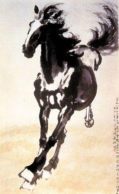 "Xu Beihong (徐悲鴻)  ,《奔马》  近代 徐悲鸿 1941年作 徐悲鸿纪念馆藏      徐悲鸿(1895—1953),江苏宜兴人。他是许多到欧洲留学然后又回国从事以提倡写实为宗旨的美术教育中最有影响的人物。在作画上,徐悲鸿青年时期以素描为最出色,所作人体,善于将线描与明暗结合起来,外形准确,风格简洁,有很高的艺术造诣。后以准确的造型、传统笔墨工具画人物、动物、花鸟和风景,探讨融会中西的""写实彩墨"",在四十年代产生了深刻的影响。"