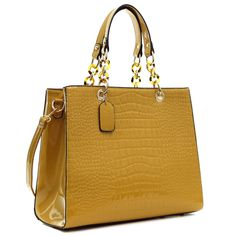 Buy the Dasein Patent Croco Embossed Faux Leather Chain Strap Satchel at eBags - Head off to work with your personal and professional essentials stashed neatly inside this croco sat Fashion Handbags, Fashion Bags, Fashion Women, Women's Fashion, Tan Purse, Brown Satchel, Handbag Stores, Brown Purses, Satchel Handbags