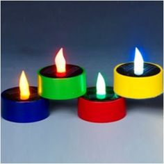 Set of 4 Solar Color Changing LED Tea Lights (red, green, blue, yellow color bases) Great for backyard entertaining. Enjoy the glow of these beautiful fairy lights. Led Tea Lights, Party Lights, String Lights, Blue Yellow, Red Green, Solar Led, Color Changing Led, Led Candles, Night Light
