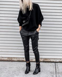 Leathers + Sweaters #allblackeverything #MGemi #minimal