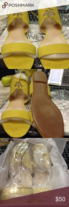 Nine West sandals Brand new still in the box/ never worn Nine West yellow Sandals. Great summer color. Nine West Shoes Sandals