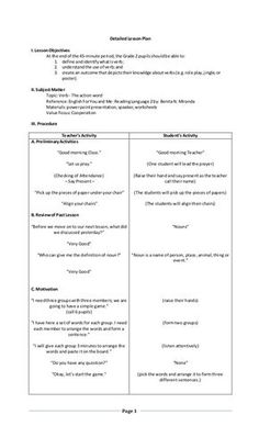 Page 1 detailed lesson plan i lesson objectives at the endof the 45 minute period the grade 2 pupilsshouldbe able to 1 homeschool for grade activity and lesson ideas homeschool Grade 1 Lesson Plan, Grammar Lesson Plans, Lesson Plan Format, Lesson Plan Examples, English Lesson Plans, Reading Lesson Plans, Daily Lesson Plan, Science Lesson Plans, Teacher Lesson Plans