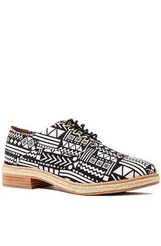 The Felix Hi Shoe in White and Black Tribal by Matiko Shoes