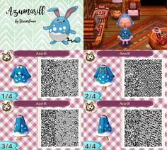 Animal Crossing New Leaf qr code cute azumarill dress outfit blue water pokemon crossover acnl design by sturmloewe