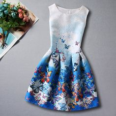 Kids Girls' Floral Going out Weekend Butterfly Print Sleeveless Cotton Dress Blu Girls Dresses Online, Party Dresses For Women, Dresses For Teens, Cotton Dresses, Blue Dresses, Casual Dresses, Summer Dresses, Dresses Dresses, Robe Diy