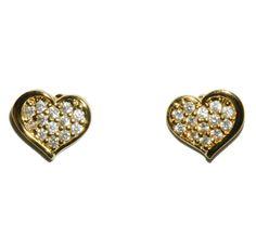 Margot Gold Heart CZ Stud Earrings | Cubic Zirconia | Gold