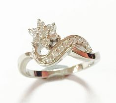 White Cubic Zirconia 925 Sterling silver ring handmade great flower designed   #Handmade #Band