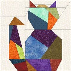 Free Cat Quilt Block Patterns | Quilting: Crazy Cat Two Paper Piece Quilt Block