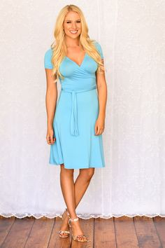 Wrapped Up In You Dress wrap-solid-dress-little-blue-dress-short-sleeved