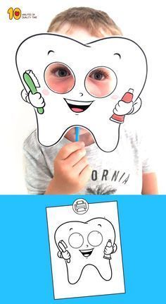 Tooth Mask Printable Template Health Adults Health For Kids Health Kindergarten Care Clean Teeth Care Display Care Routine Dental Health Month, Dental Kids, Health Activities, Healthy Teeth, Healthy Habits, Kids Education, Health Education, Preschool Activities, Preschool Food