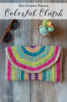 FREE Crochet Pattern: Rica Colorful Crochet Clutch - This pretty clutch has the potential for endless color combinations with two strands worked together. decke farbkombinationen Rica Colorful Crochet Clutch - Free Crochet Pattern - Whistle and Ivy Crochet Clutch Pattern, Clutch Bag Pattern, Crochet Clutch Bags, Crochet Purses, Crochet Bags, Crochet Handbags, Crochet Gifts, Free Crochet, Crochet Granny
