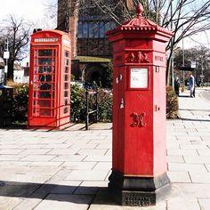 Iconic British phone box and Post Box in Shrewsbury, England  Photo by lightlane • Instagram