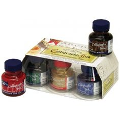 Winsor & Newton™ Calligraphy Ink Introduction Set: Multi, Bottle, 30 ml, Calligraphy, (model 1190192), price per set