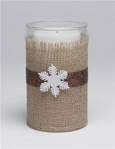 Add burlap to glass with Mod Podge