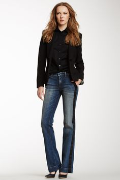"""Satin Side Tuxedo Denim Pant in indigo; ABS by Allen Schwartz  $287 - $99 @HauteLook. Sizing: 28=6, 29=8, 30=10, 31=10-12, 32=12. - Zip fly with concealed button closure - 4 pocket construction - Wide leg - Contrast satin side panels - Topstitching detail throughout - Approx. 8"""" rise, 35"""" inseam - Made in USA Model's stats: - Height: 5'9"""" - Waist: 24"""" - Hips: 34"""" Model is wearing size 27. Dry clean. Shell: 72% cotton, 28% elasterell. Contrast: 100% polyester. Lining: 65% polyester, 35%…"""