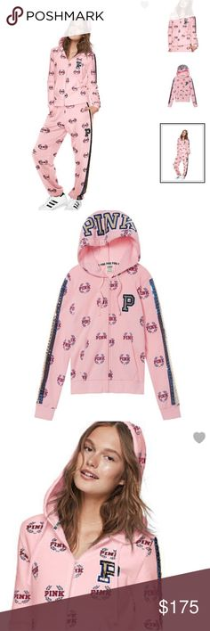 NEW VS PINK BLING Campus Hoodie Pants Set L LARGE NEW in package - Victoria's Secret PINK- BLING Campus Hoodie & Pants Set - Size Large (Pants are oversized) - FROM Smoke Free Home PINK Tops Sweatshirts & Hoodies