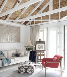 Converted garage - like the open rafters and contrast between the white beams and the wood roof. Garage Renovation, Garage Remodel, Garage Makeover, Garage Interior, Cottage Renovation, Grange Restaurant, Transformer Un Garage, White Beams, White Wood