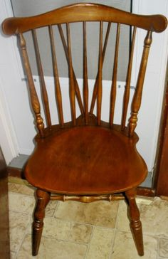 All Wood Dining Room Chairs Pair Vintage Ethan Allen Dark Spindle Back Solid Wood Dining