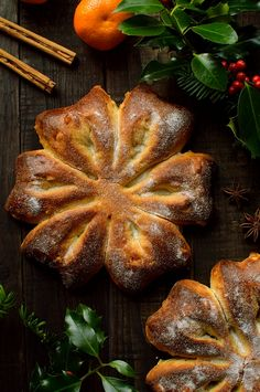 Orange and star anise festive snowflake bread (Gibassier) - Domestic Gothess