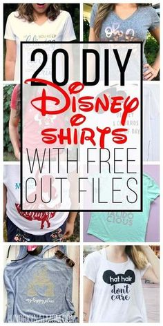 Great ideas for DIY Disney Shirts with free cut files for your Silhouette or Cricut! Taking a trip to Disney? Use your Silhouette or Cricut to make custom shirts with this list of DIY Disney Shirts with free cut files. Disney Shirts For Family, Shirts For Teens, Disney Diy Shirts, Disney Family, Disney Shirts Women, Diy Disneyland Shirts, Diy Disney Gifts, His And Hers Disney Shirts, Disneyland Ideas