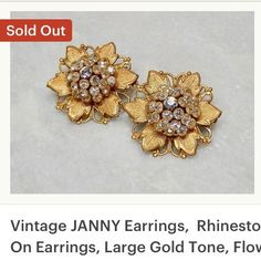 Vintage JANNY Rhinestone Flower Clip On Earrings Large Gold Tone Flower Earrings by SoManyYears on Etsy Jewelry Design Earrings, Gold Earrings Designs, Gold Jewellery Design, Necklace Designs, Ear Jewelry, Jewlery, Rose Earrings, Clip On Earrings, Gold Fashion
