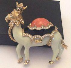 Ciner Enamel Brooch Rhinestone Camel Pin Vintage by OurBoudoir