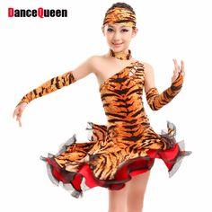 1b046a0d71a48c Click to Buy    Latin Dance Dress For Girls Tiger Leopard Zebra Child  Regatas Femininas Cha Cha Samba Rumba Ballroom Dresses For Dancing DQ4069   Affiliate