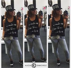 """Party Planning means comfy but it does NOT mean I'll stop being stylish!  Get this look.  SEARCH: •grey burnout joggers •love wild free tank •rhinestone love hat  SHOP: www.aliciadimichele.com DON'T FORGET: use promo-code """"FREESHIP"""" to get your items shipped at no cost to you!  SHOP: www.aliciadimichele.com"""