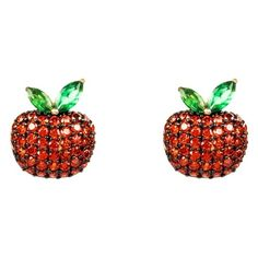 The Forbidden Apple Earring Red Latelita London ❤ liked on Polyvore featuring jewelry, earrings, red earrings, earring jewelry, wolf jewelry, red jewelry and wolf earrings