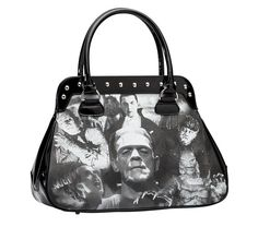 Universal Monsters Black and White Monster Collage Handbag [UMHB25] - $56.00 : Mystic Crypt, the most unique, hard to find items at ghoulishly great prices!