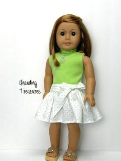 White skirt with green pin dots by Unendingtreasures on Etsy. Made following the Party Skirt pattern. Find it at http://www.pixiefaire.com/products/party-skirt-18-doll-clothes. #pixiefaire #partyskirt
