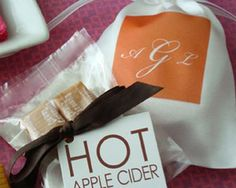 Monogram Apple Cider or Hot Cocoa in Satin Bag: would be a cute to give guests at a fall/winter wedding