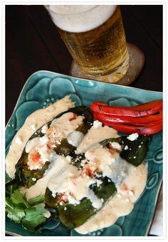 Chiles Rellenos de Camarones y Queso (Cheese and Shrimp Stuffed Poblanos)