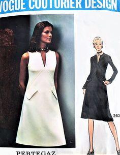 1970s FABULOUS Pertegaz Sleek Dress Pattern VOGUE Couturier Design 2624 Day or Evening Low V Neckline Seam Interest Two Style Versions Bust 36 Vintage Sewing Pattern UNCUT