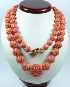 Fine Spirited Large Chinese Carved Angel Skin Coral Dragon Bead Necklace