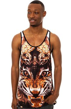 The Tiger Tank Top in Black by Two Angle