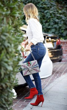 Rosie Huntington-Whiteley in skinny jeans, a white blouse, red heel booties and a Gucci bag - click ahead for more outfit inspiration from celebrities
