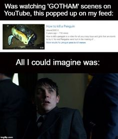 """I think Ed has watched this a bit too many times by now, and he still hasn't realised """"no real penguins were harmed in the making of this video"""" Batman Beyond Gotham, Jerome Gotham, Gotham City, Batman Comic Art, Batman Comics, Dc Comics, Tim Drake Batman, Batman Robin, Gotham Quotes"""