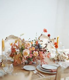 a feminine fall tabletop with happy colors and simple settings | thanksgiving table setting ideas on coco kelley