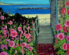 "Hollyhocks Flowers Pathway to the Sea Provincetown Original Acrylic Painting 11"" x 14"""