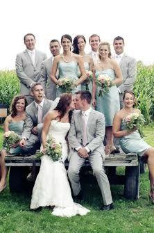 Light Grey suits for Groomsmen + Sage Bridesmaid Dresses