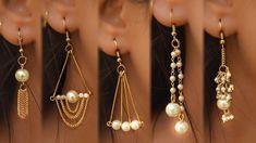 5 easy Pearl Earring Design DIY 5 min Craft Hand made jewelry Ar. Diy Jewelry Rings, Diy Jewelry To Sell, Diy Jewelry Making, Pearl Jewelry, Wire Jewelry, Jewelry Crafts, Jewelry Art, Beaded Jewelry, Jewelry Design