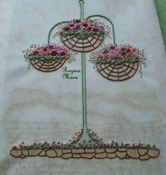 My English Country Garden Quilt - Hand embroidery with watercolour painting - block 6