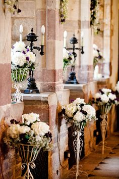 Beautiful floral arrangements in the Great Hall