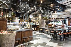 Kitchen Loft is a new dining concept from NTUC Foodfare a food court set in的圖片搜尋結果 Cafe Bar, Cafe Restaurant, Restaurant Design, Santa Lucia, Food Court Design, Fresh Food Market, Brewery Design, Cool Bars, Retail Design